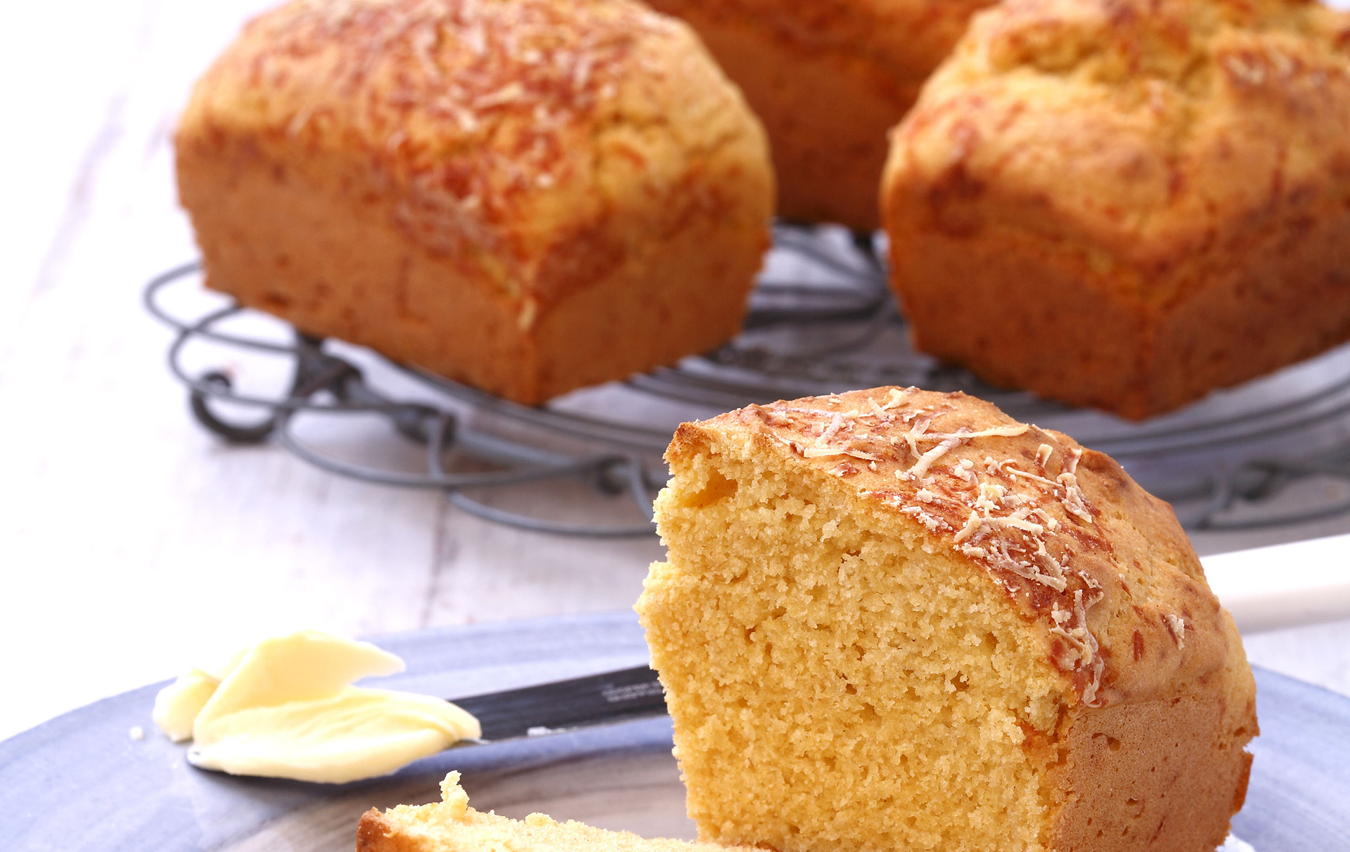 Mini corn bread loaves are the perfect bake to give to family and friends at the start of a meal