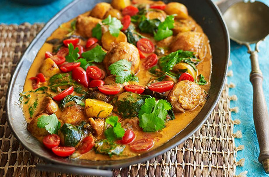 Easy Thai Curry With Chicken Spinach And Potato