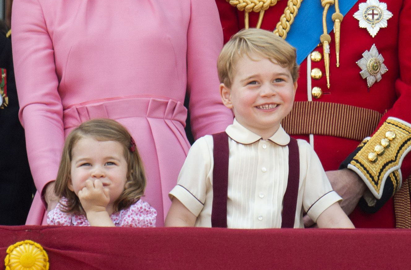 Prince George And Princess Charlotte Present For The Queen