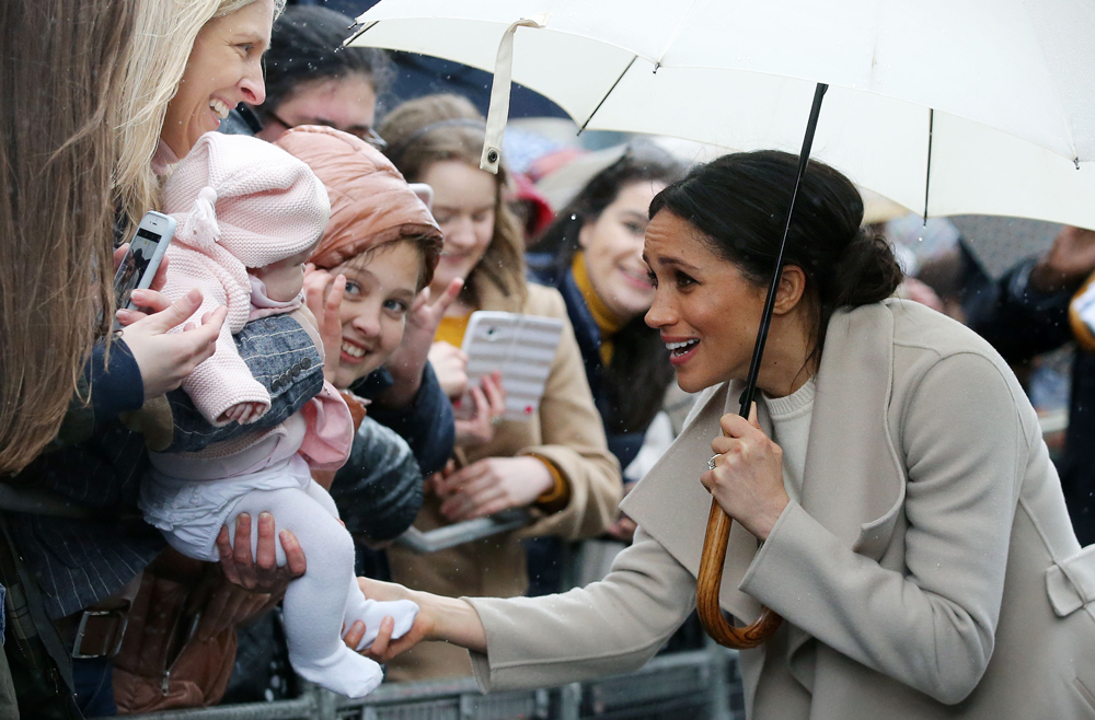 Meghan Markle and a baby in Belfast