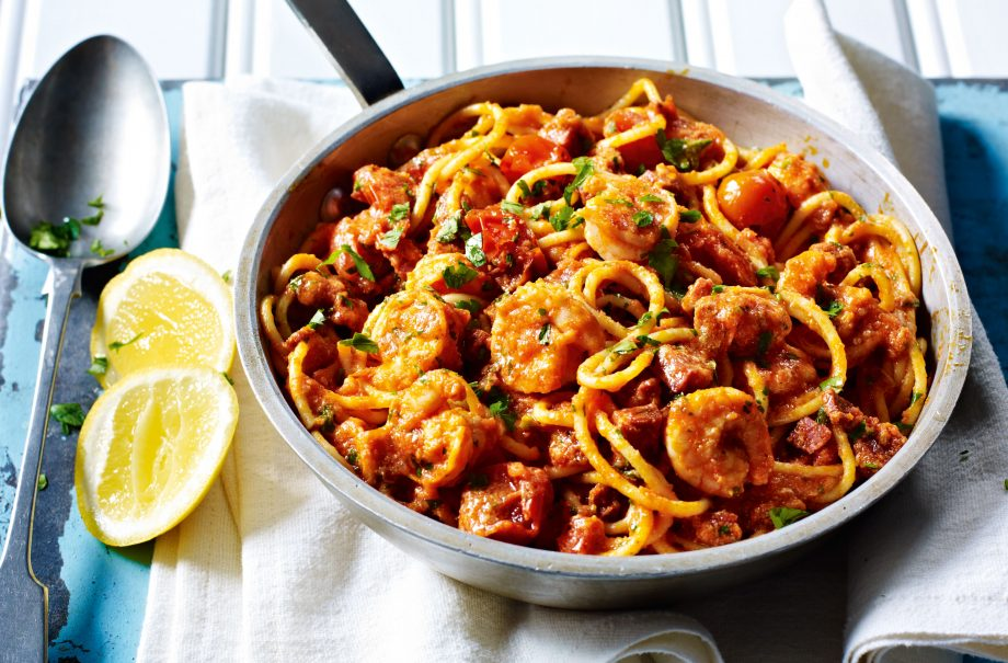 Penne pasta with king prawns, cherry tomatoes and lemon recipe