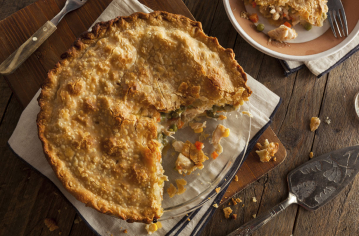 Turkey and ham pie is the perfect way to make the most of your Thanksgiving ingredients