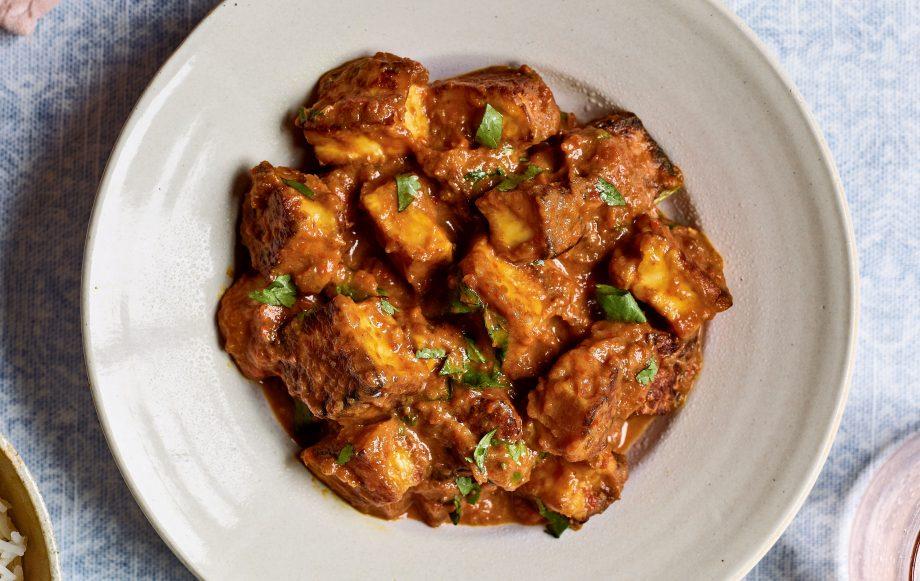 Nadiya's Family Favourites halloumi curry with coconut sambal Recipe