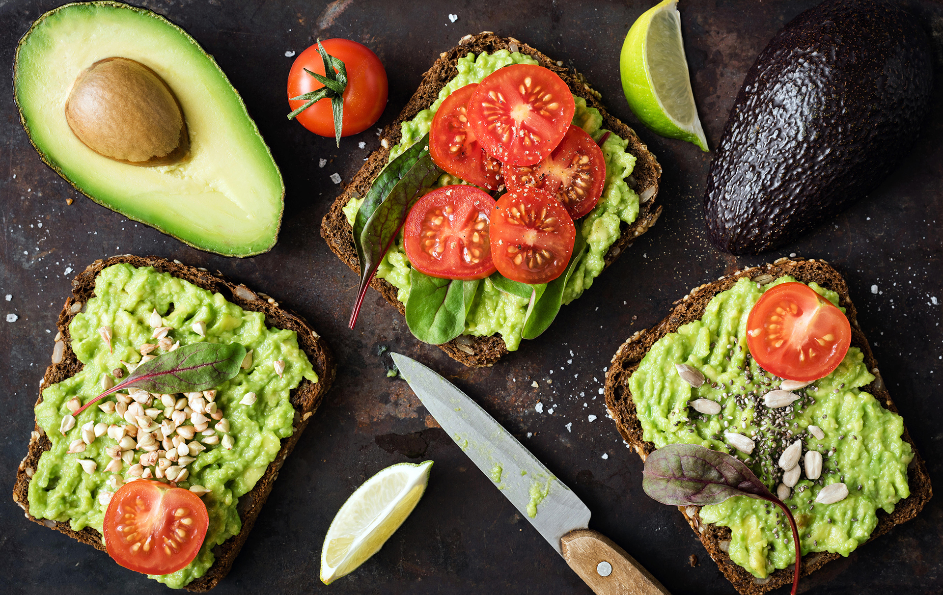 avocado on toast with tomato and lime.