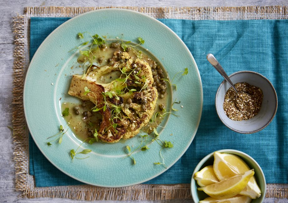 Cauliflower steaks with anchovy and lemon butter Recipe