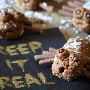 Kids will love these no bake cookies in the shape of spooky creepy crawlies