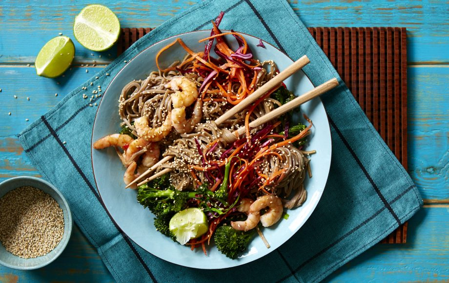 Soba noodles with spicy miso prawns and broccoli Recipe