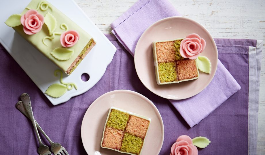 Battenberg cake with rose and pistachio recipe