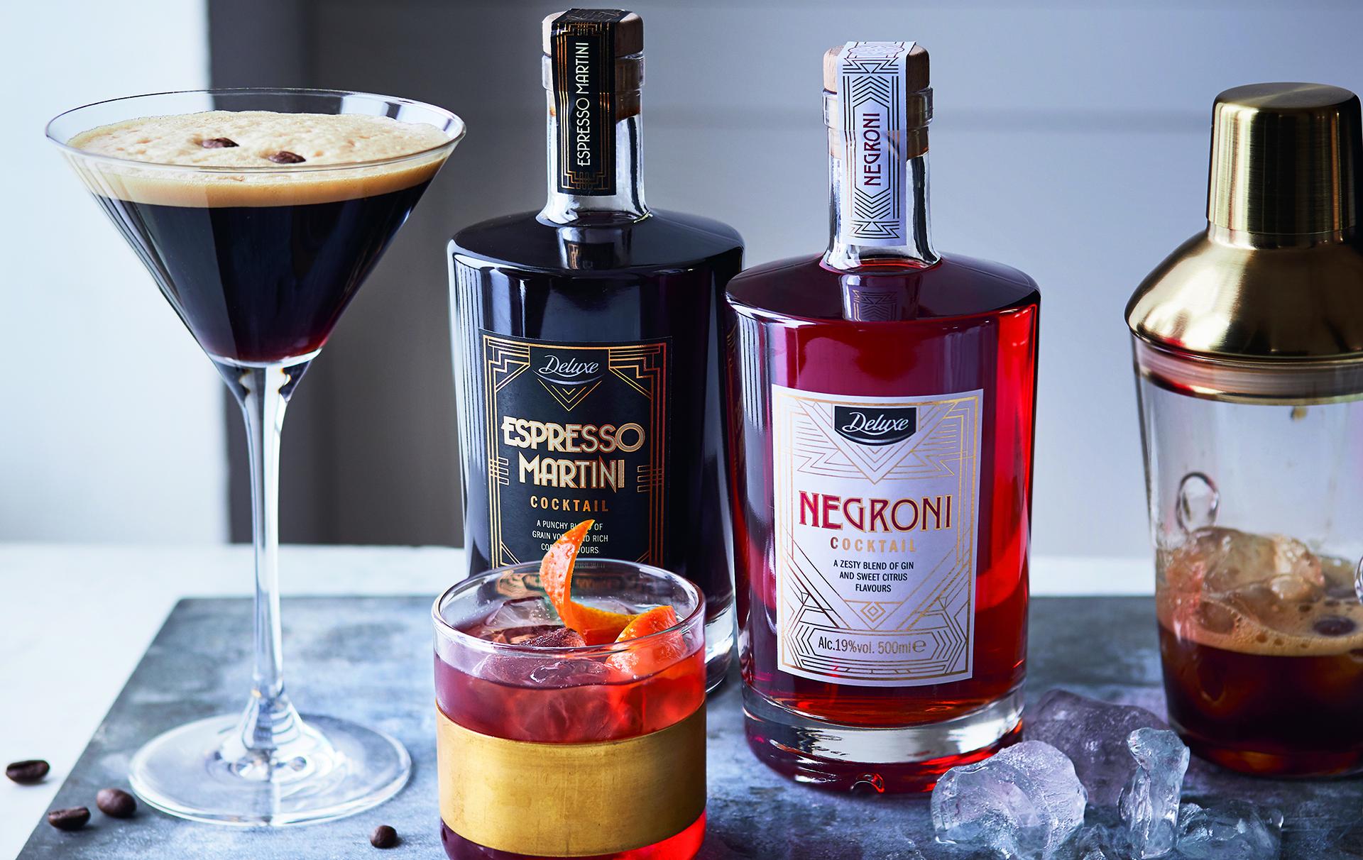 Lidl pre-mixed Negroni and Espresso Martini