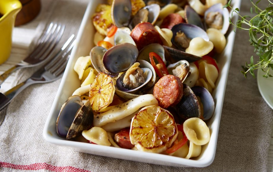 Little ears pasta with squid, clams, chorizo and chilli recipe