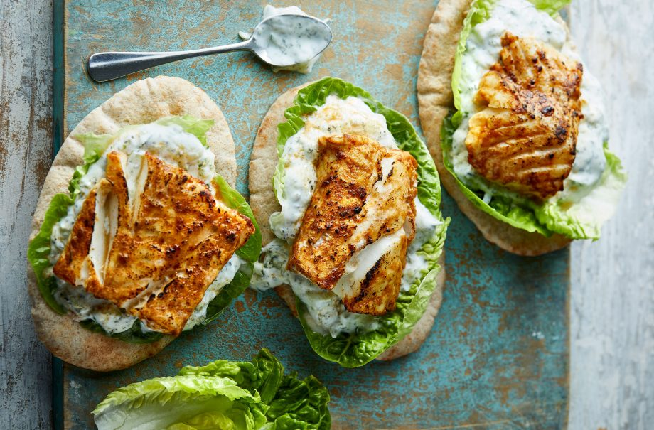 Eat Well for Less' grilled cod Tikka with cucumber yoghurt recipe