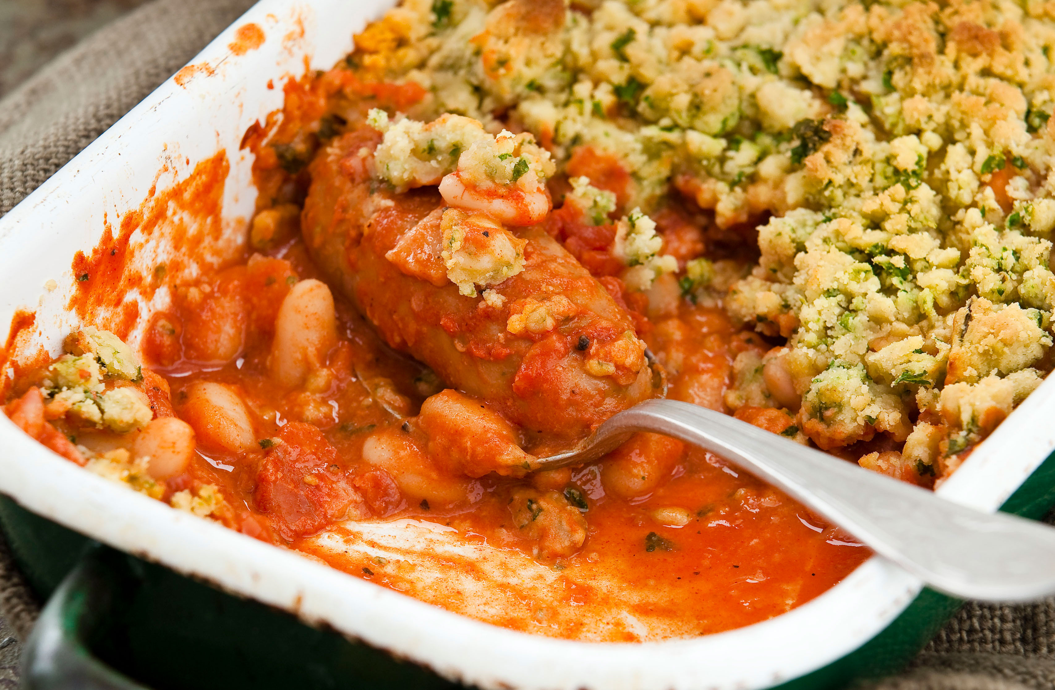 Sausage And Bean Crumble Dinner Recipes Goodtoknow