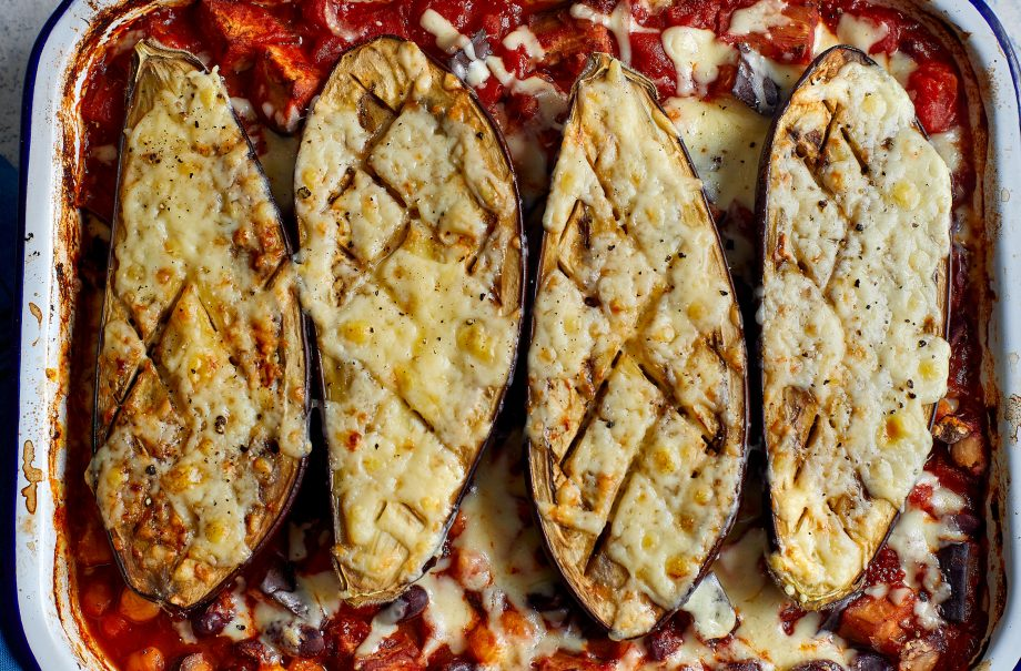 Eat Well for Less' aubergine chilli traybake recipe