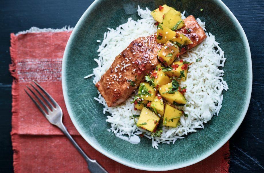 Nadiya Hussain's teriyaki salmon with mango salsa recipe