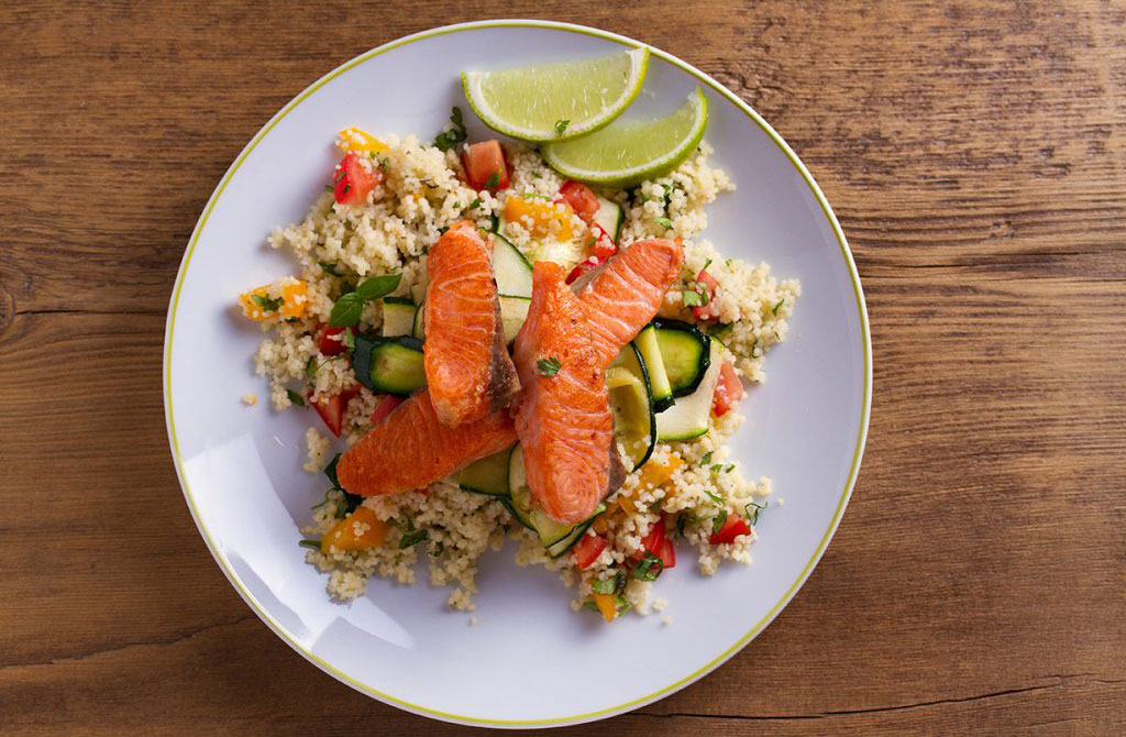 Couscous Chickpea And Salmon Salad Lunch Recipes