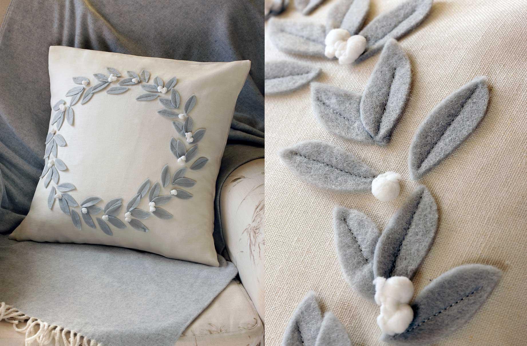 How to make a Christmas wreath cushion