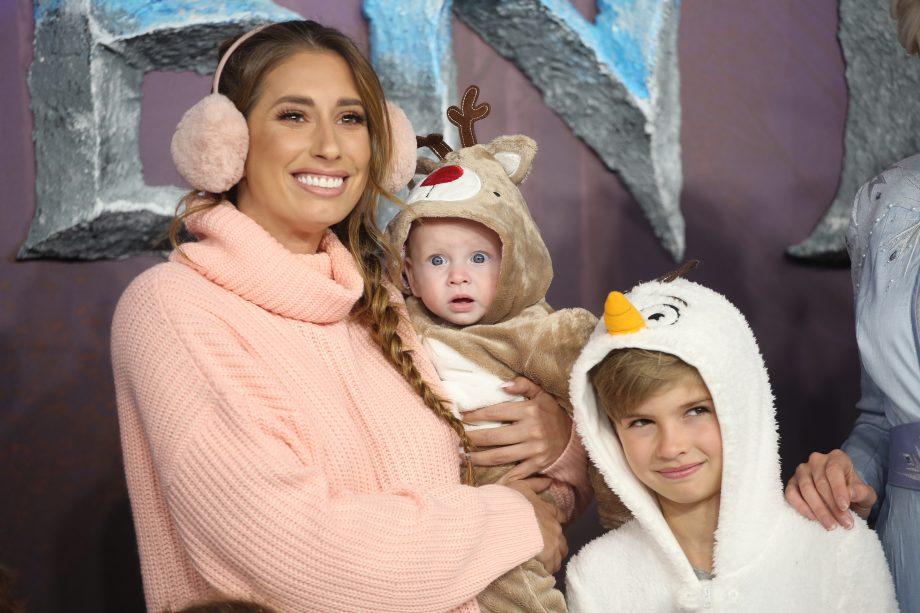 Stacey Solomon with her children at Frozen 2 premier