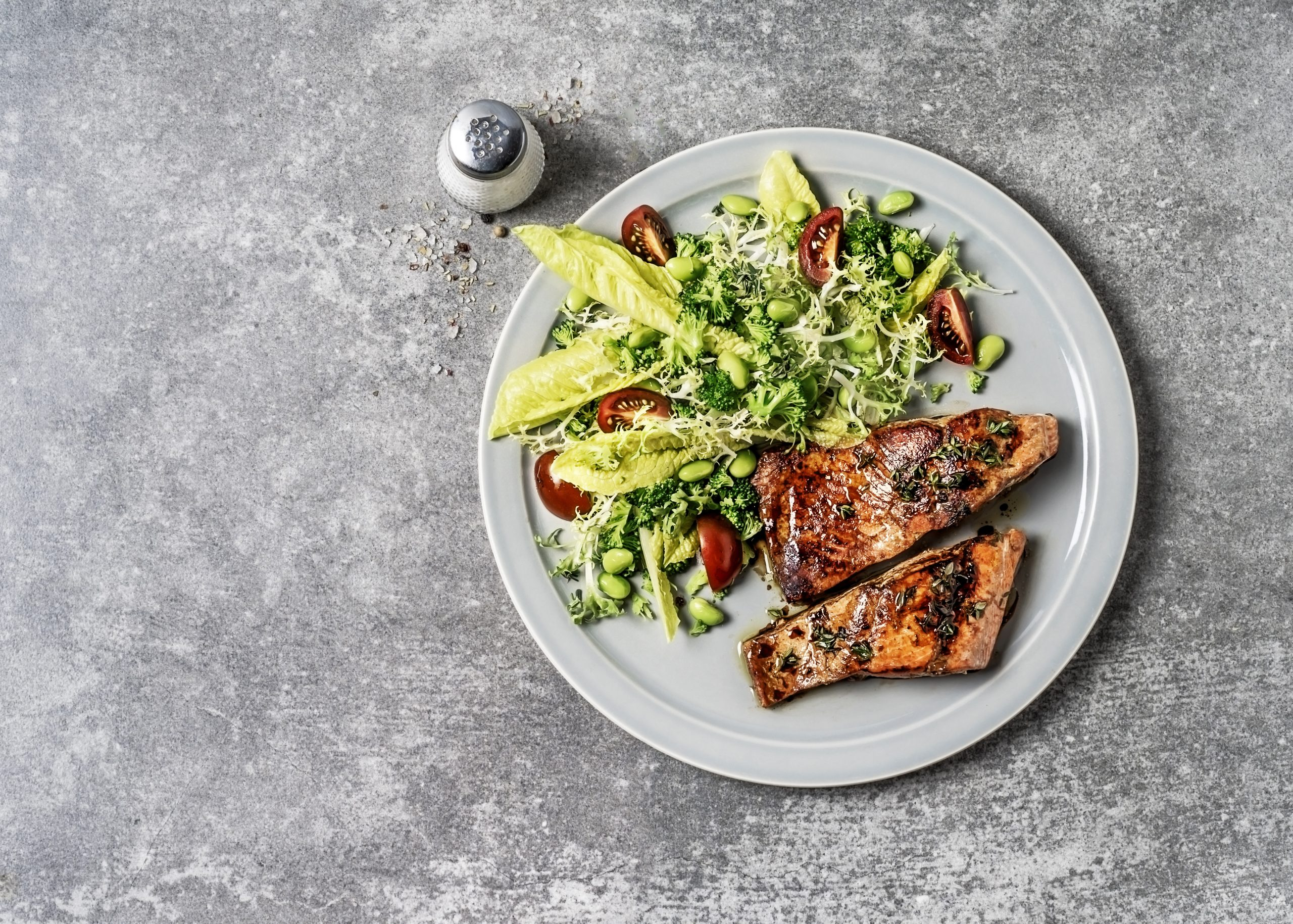 a seagan diet a salmon salad