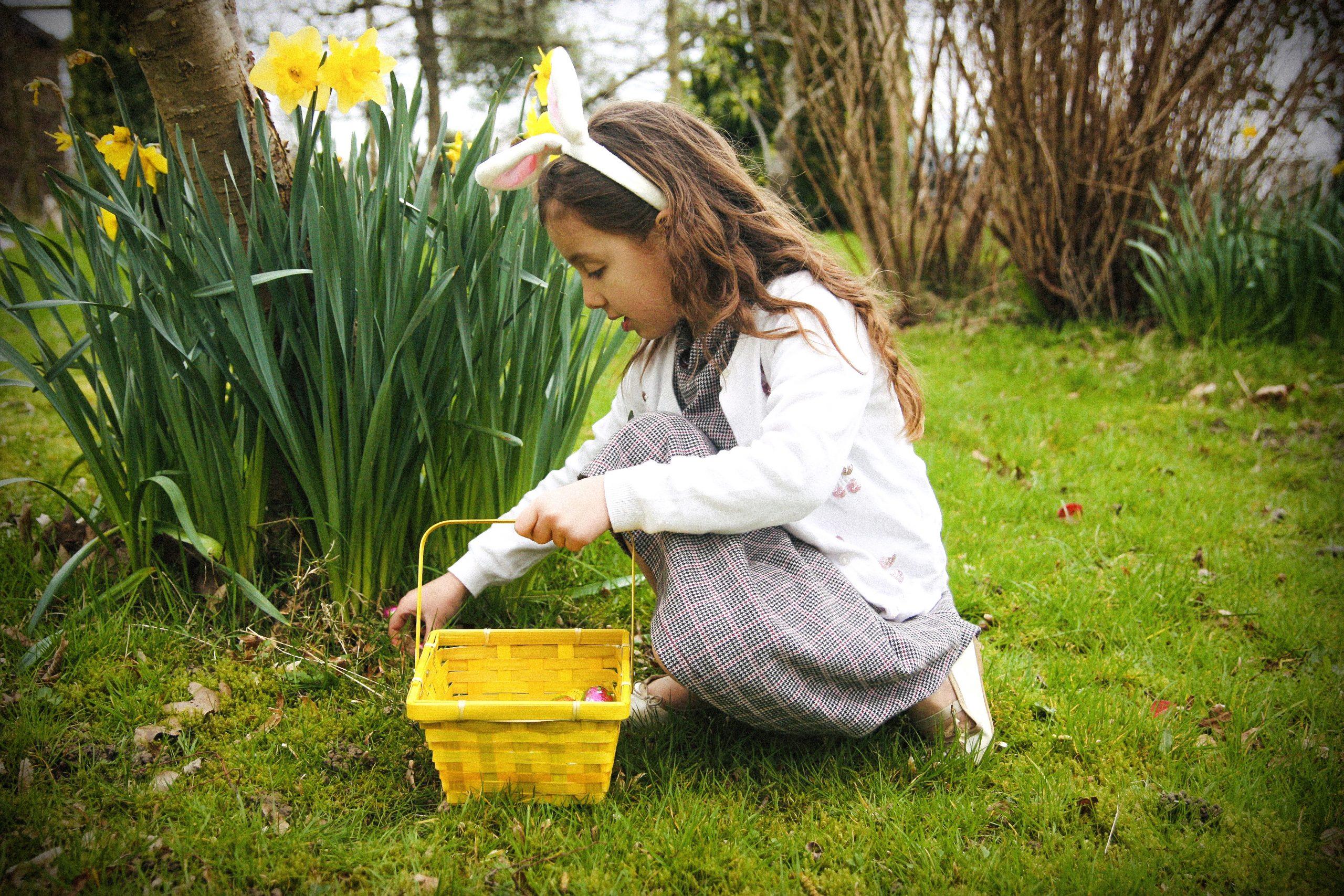 A little girl celebrating Easter 2020.