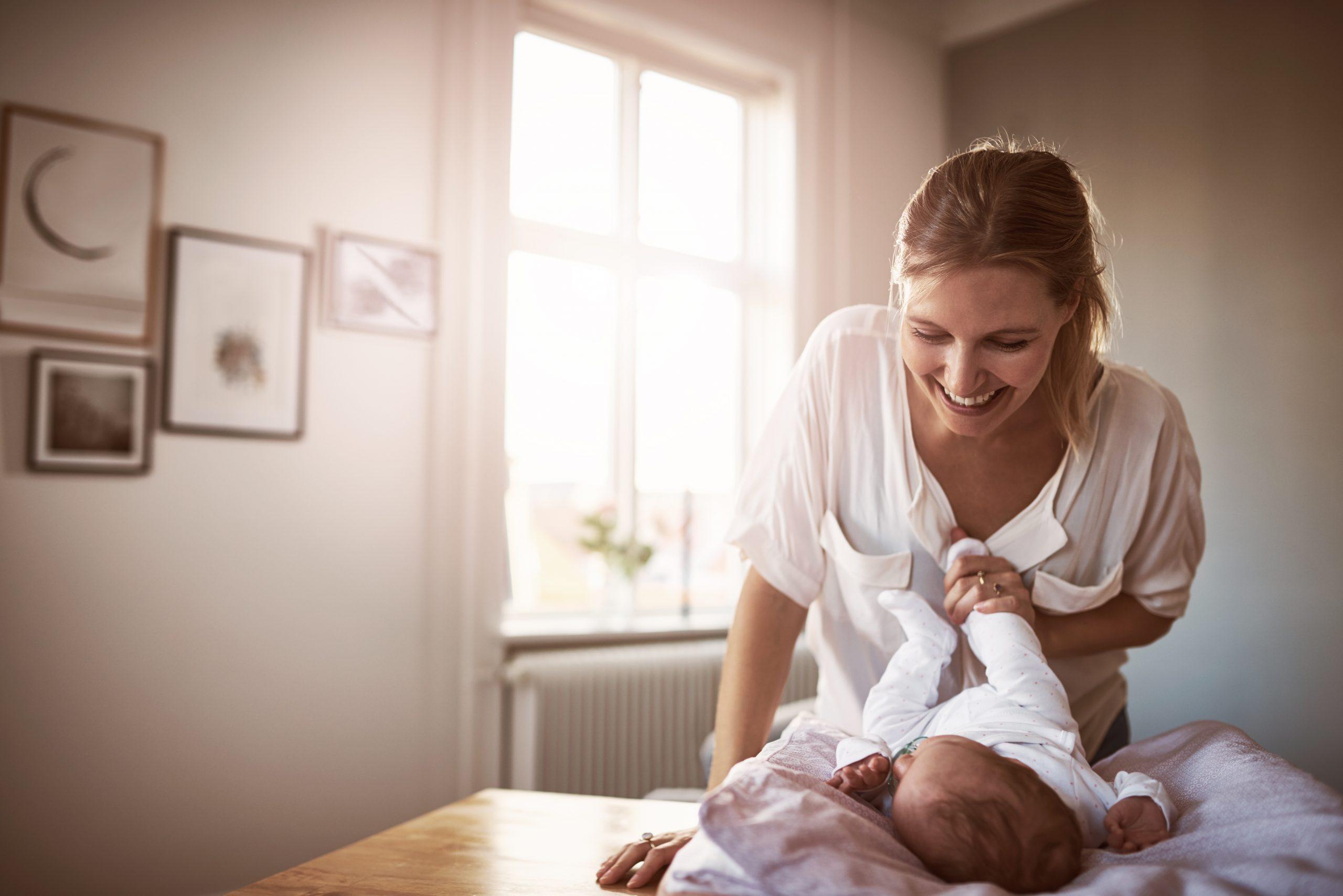 new mum and her baby