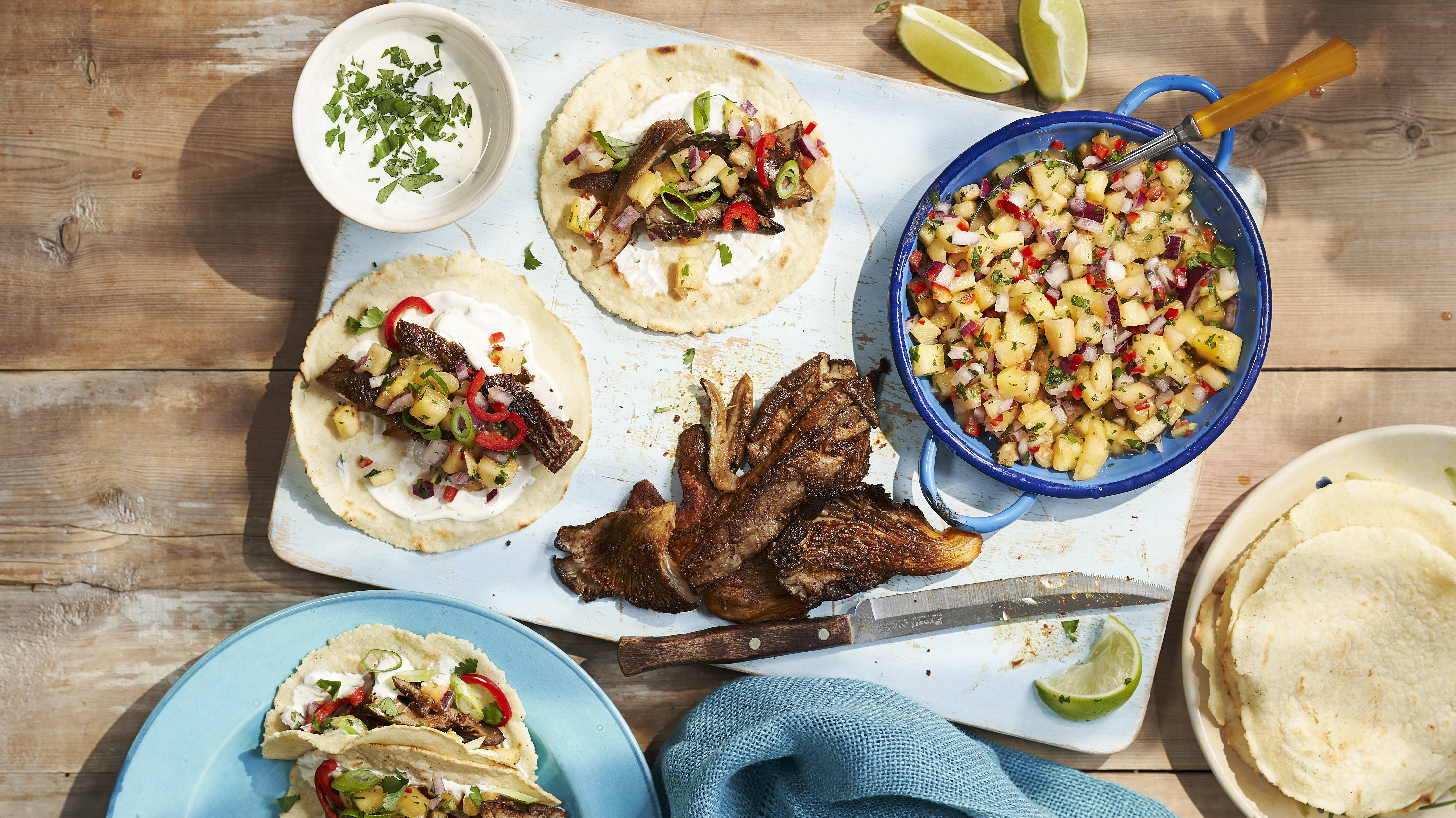 Serve up an authentic taste of Mexico with these vegan mushroom tacos with pineapple