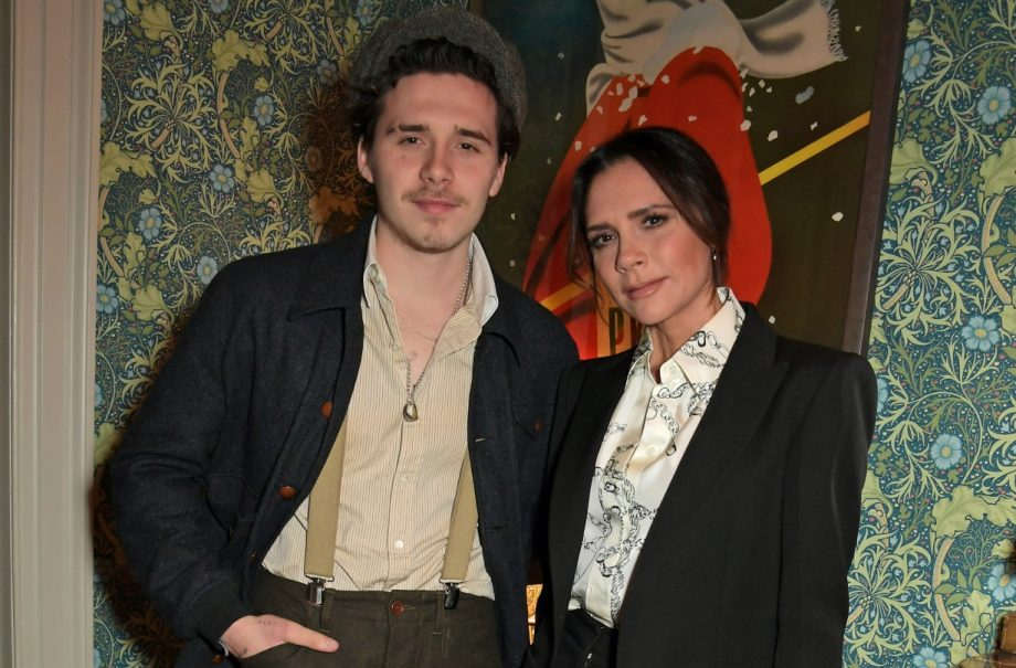Brooklyn and Victoria Beckham