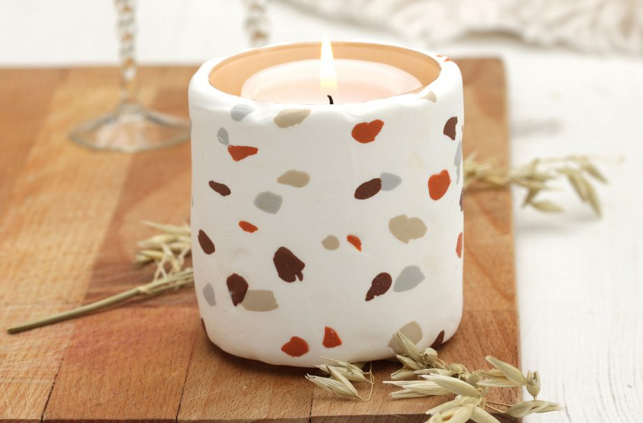 How to make a terrazzo candle holder