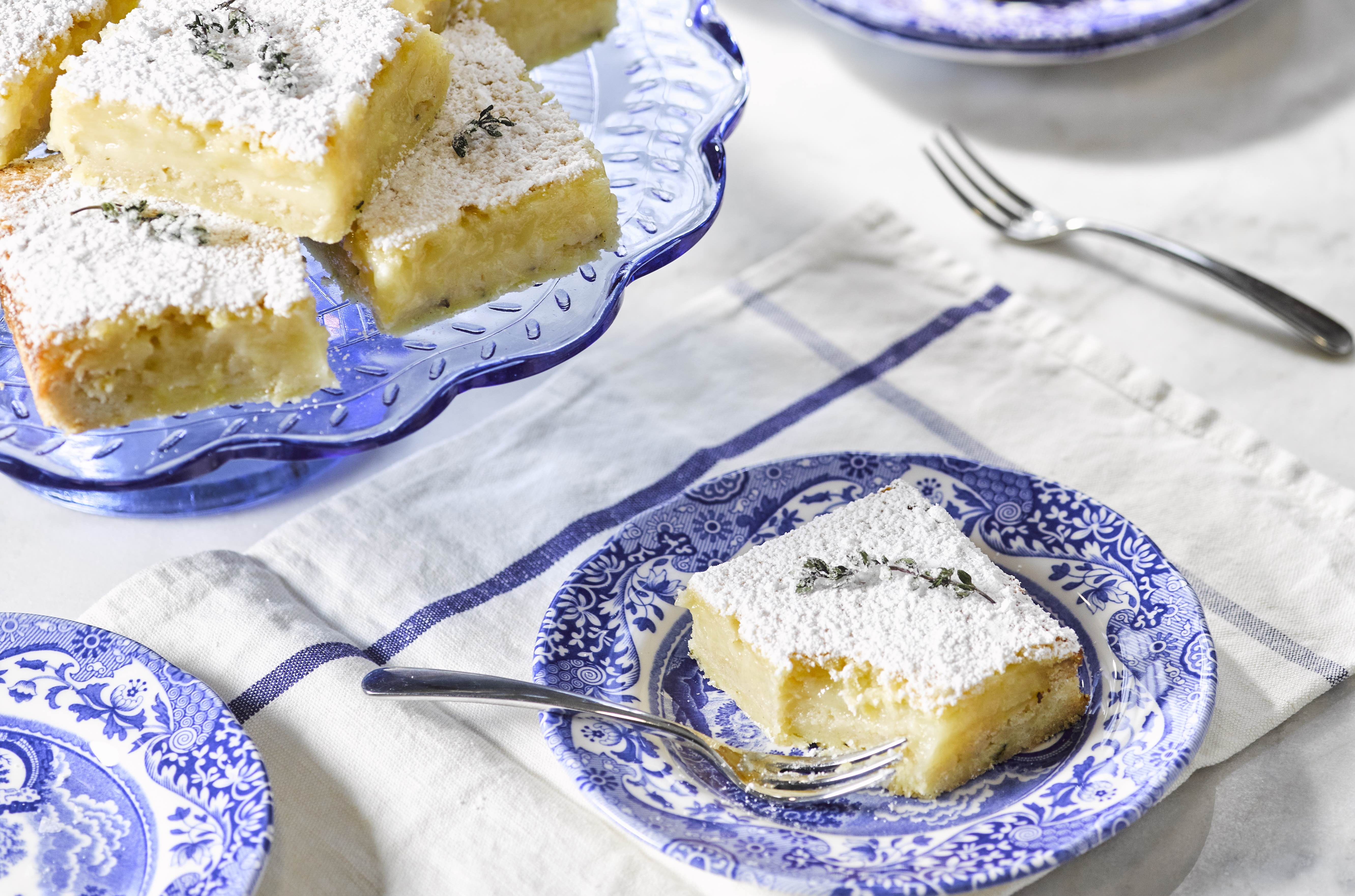 The most delicious lemon and thyme squares perfect for dinner parties
