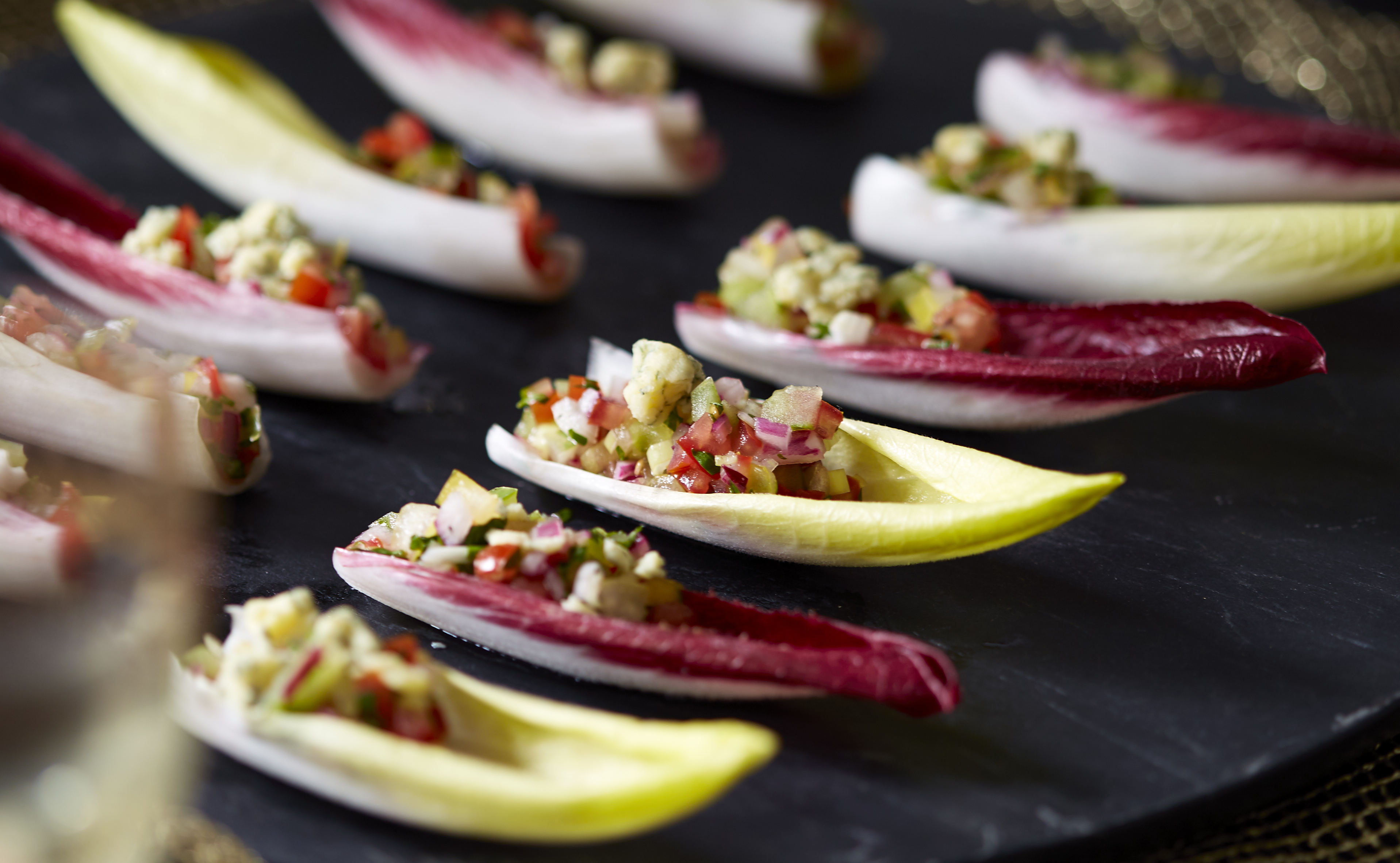 Chicory Leaf With Tomato Salsa And Blue Cheese Canape | Recipes | GoodtoKnow