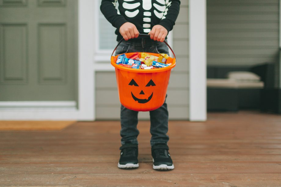 trick or treating bucket with sweets