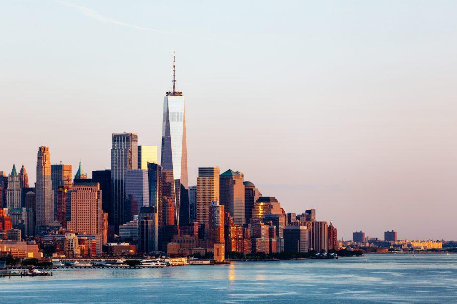 New york skyline with sunset background