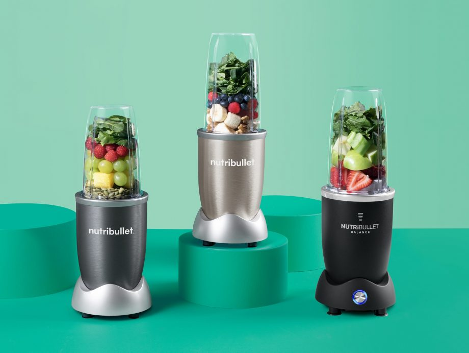 Three blenders against a turquoise background representing Black Friday Nutribullet deals in 2020