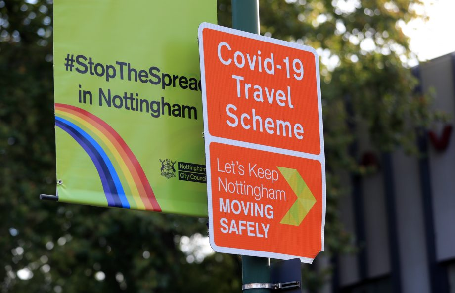 sign in Nottingham saying 'stop the spread'