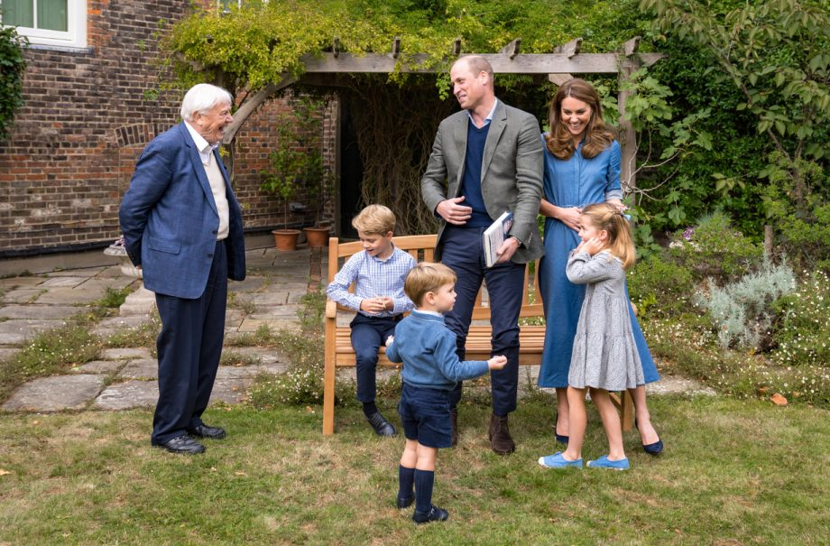 Prince George, Princess Charlotte, Prince Louis, Duke and Duchess of Cambridge, Sir David Attenborough