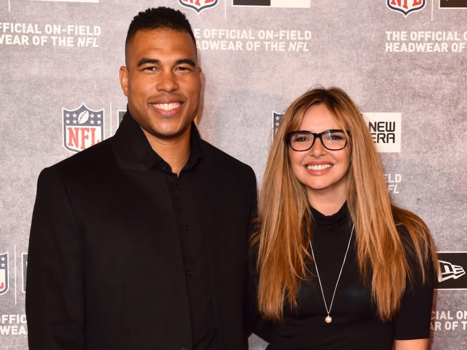 Jason Bell and Nadine Coyle at the launch of NFL House in London