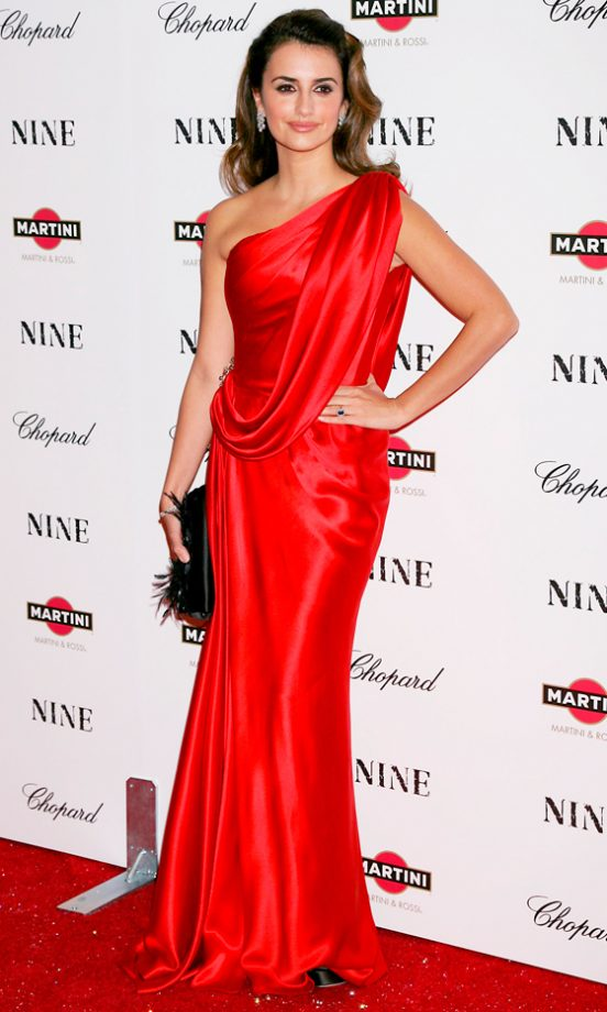Penelope Cruz Dazzles In A One-Shouldered Red Dress At The Premiere Of Nine