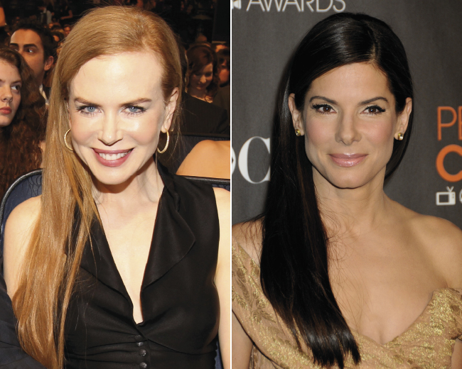 Nicole Kidman and Sandra Bullock at the People's Choice awards with matching sleek hairstyles