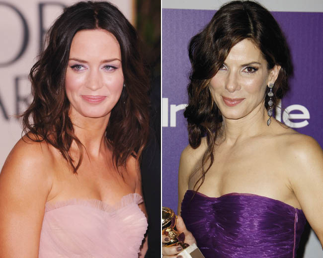 Emily Blunt and Sandra Bullock with soft hairstyles and girlie makeup at The Golden Globes 2010