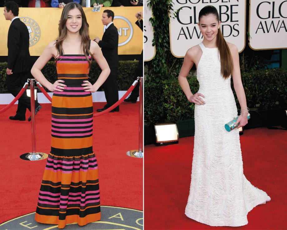 Hailee Steinfeld on the red carpet wearing Prada at The Screen Actors Guild 2011 and Prabal Gurung at The Golden Globes 2011