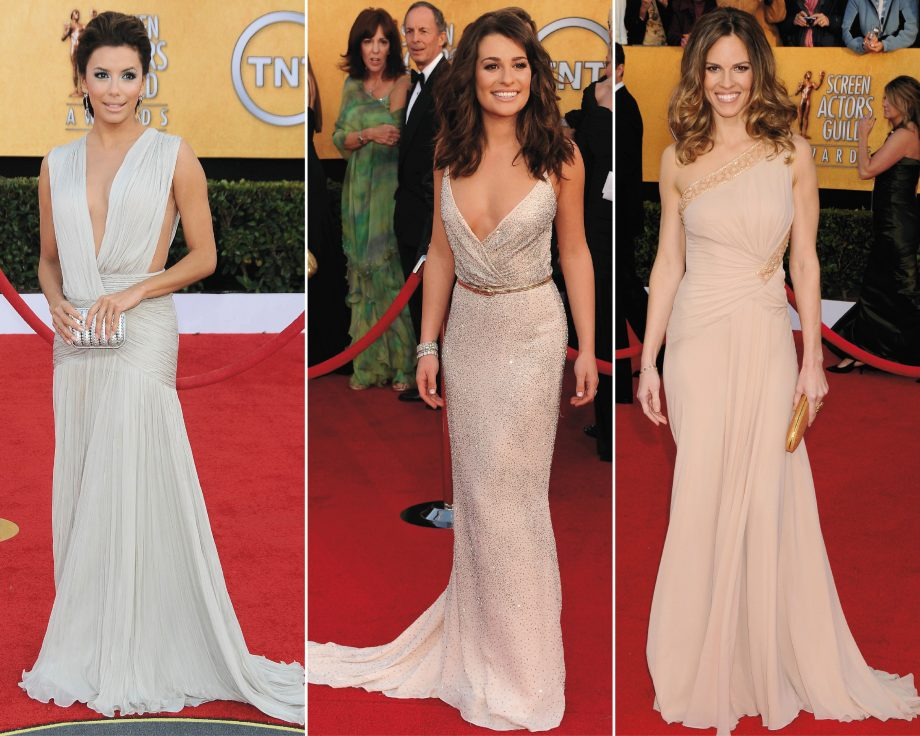 Eva Longoria, Lea Michele and Hilary Swank wowed in a selection of nude dresses at the 2011 Screen Actors Guild Awards in LA, making one of the biggest celebrity trends of 2011 so far