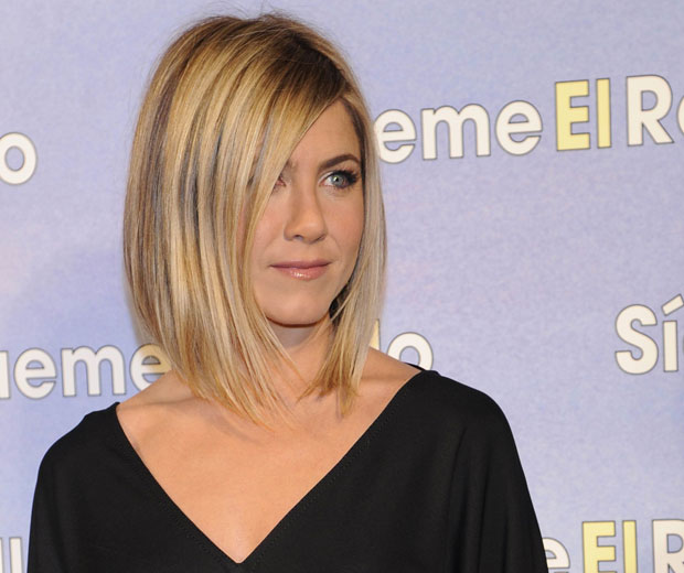 Jennifer Aniston shows off her new celebrity hairstyle as she steps out with a super-sleek bob hairstyle at the Madrid film premiere of Just Go With It