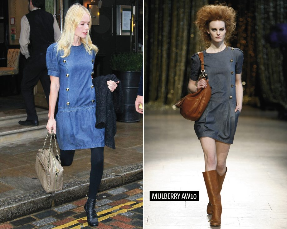 Kate Bosworth wearing a Mulberry dress and boots in London, left, a model wearing the same dress on the Mulberry AW10 catwalk, left
