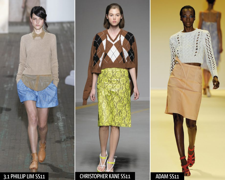 Check out the knitwear pieces at 3.1 Phillip Lim, Christopher Kane and Adam at the spring/summer 2011 shows and take a celebrity masterclass from Alexa Chung and Olivia Palermo at London Fashion Week