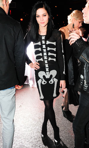 Leigh Lezark at the Jeremy Scott after show party during New York Fashion Week, wearing a skeleton print dress from the designers SS/11 collection