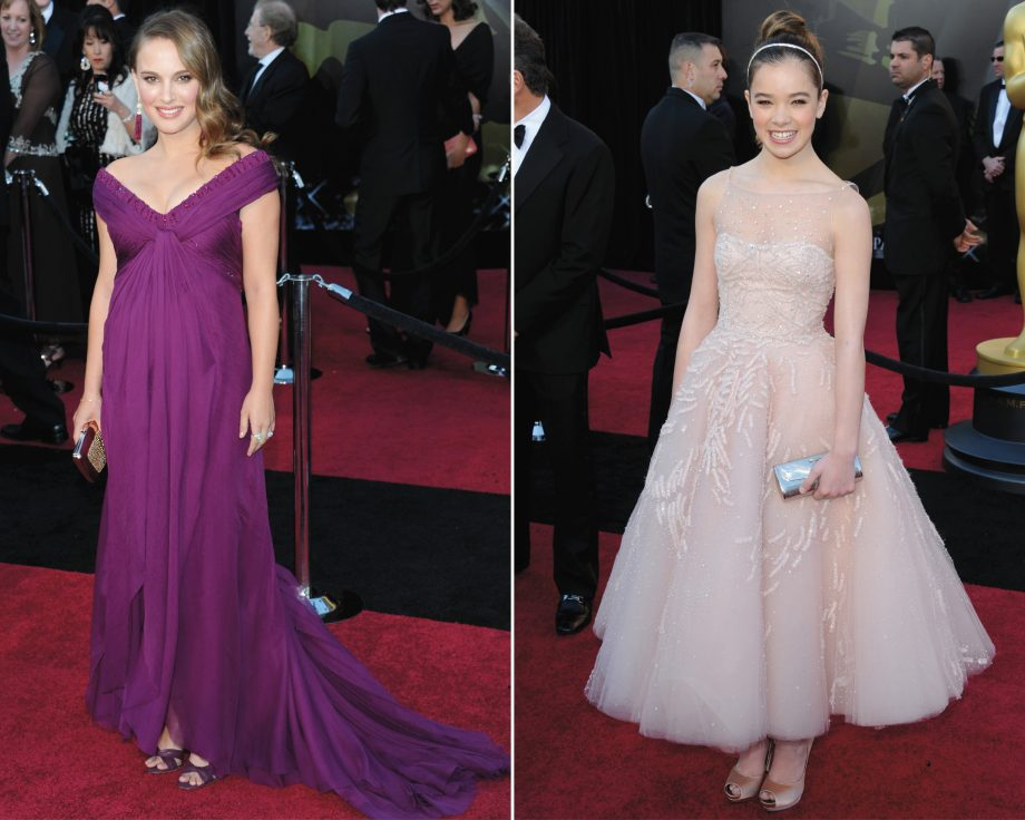 Natalie Portman in Rodarte and Hailee Steinfield in Marchesa on the red carpet at the 2011 Oscars