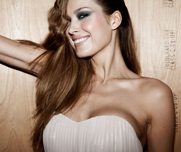 Petra Nemcova backstage at the Look Show 2011 in a French Connection cream strapless dress