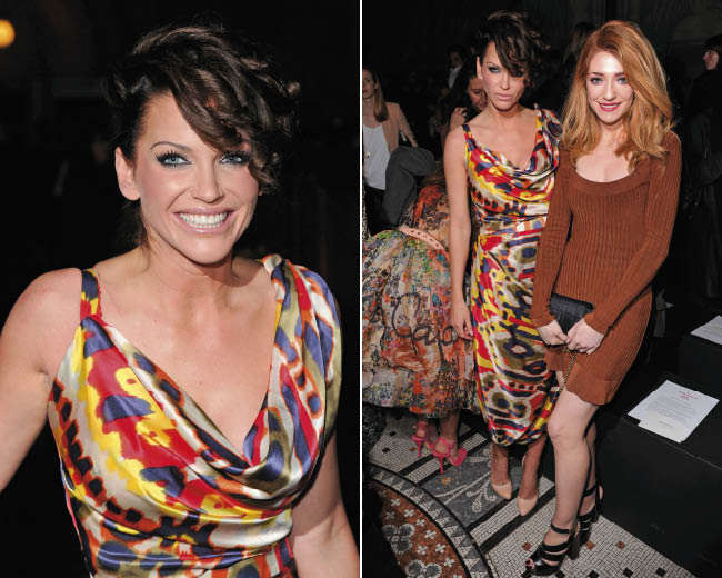 Sarah Harding shows off a new brunette hair style, left, Sarah Harding with Nicola Roberts at the Vivienne Westwood Red Label show during London Fashion Week, right
