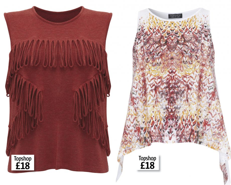 A fringed and printed vest top from Topshop's Fairtrade festival inspired collection
