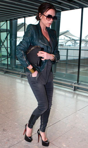 6f7315490ec1 ... uk victoria beckham walking through heathrow airport in christian  louboutins 6.5inch daffodil platforms. shoes