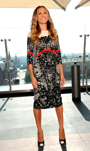 Sarah Jessica Parker wears a Prabal Gurung dress and Salvatore Ferragamo shoes to promote her new film I Don't Know How She Does It